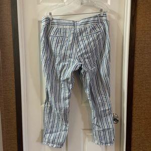 LOFT Pants - Loft Blue/White Striped Cropped Linen Blend Pants